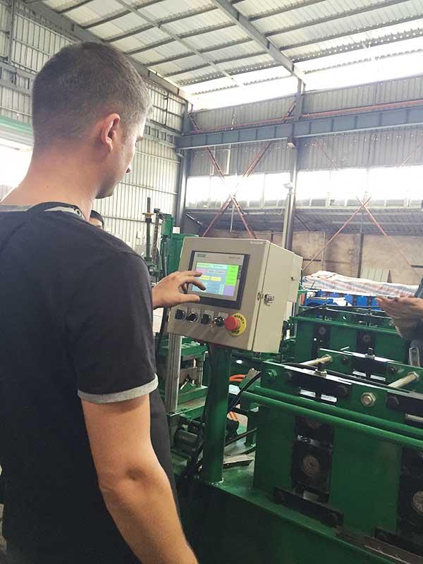 Europe metal sheet manfaucturer engineer testing rack shelf roll forming machines