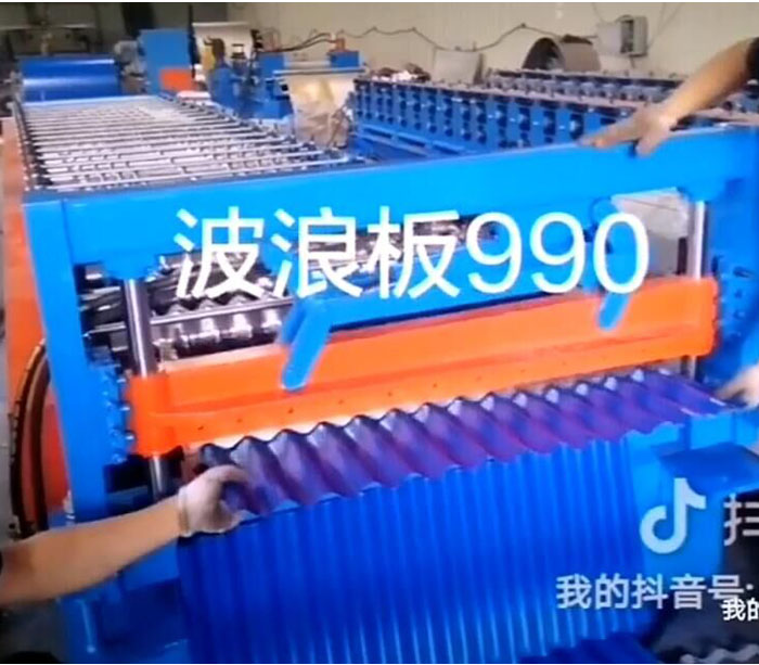 Color sheet corrugated metal roofing panel roll forming machine for wave panel